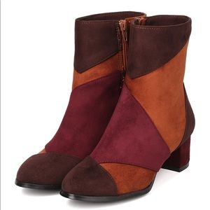 Women's Patchwork Ankle Chunky Heel Booties